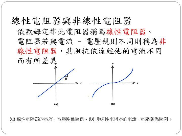 線性電阻器與非線性電阻器