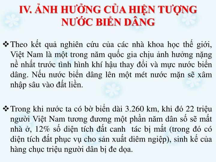 IV. NH HNG CA HIN TNG NC BIN DNG