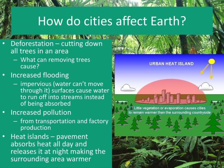 How do cities affect Earth?