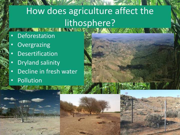 How does agriculture affect the lithosphere?
