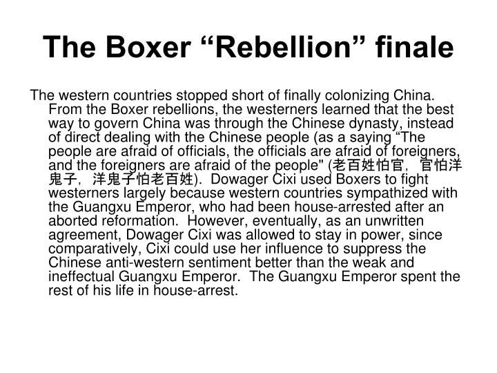 "The Boxer ""Rebellion"" finale"