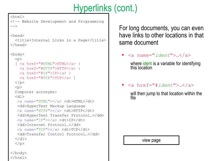 Hyperlinks (cont.)