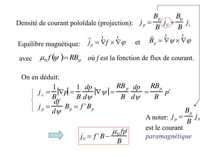Densit de courant polodale (projection):