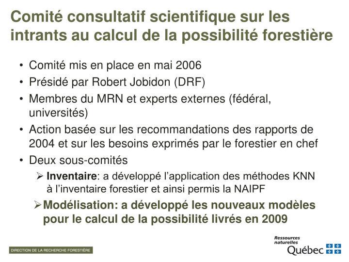 Comité consultatif scientifique sur les intrants au calcul de la possibilité forestière