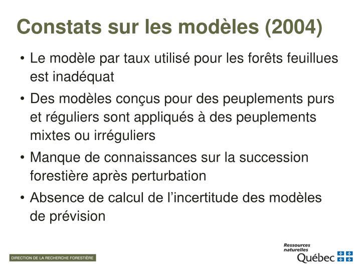 Constats sur les modèles (2004)