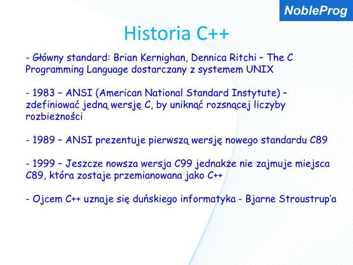 Historia C++