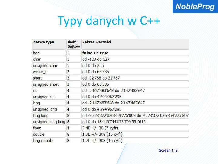 Typy danych w C++