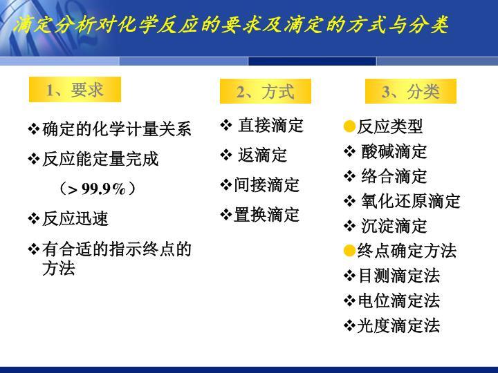 滴定分析对化学反应的要求及滴定的方式与分类