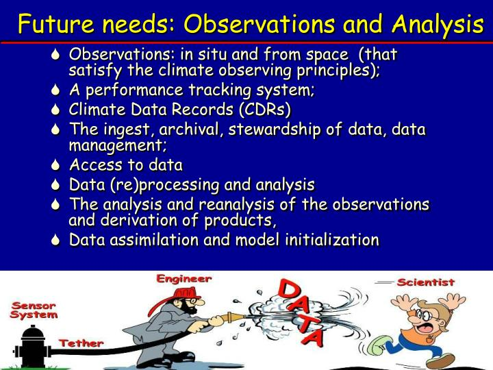 Future needs: Observations and Analysis