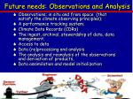 future needs observations and analysis