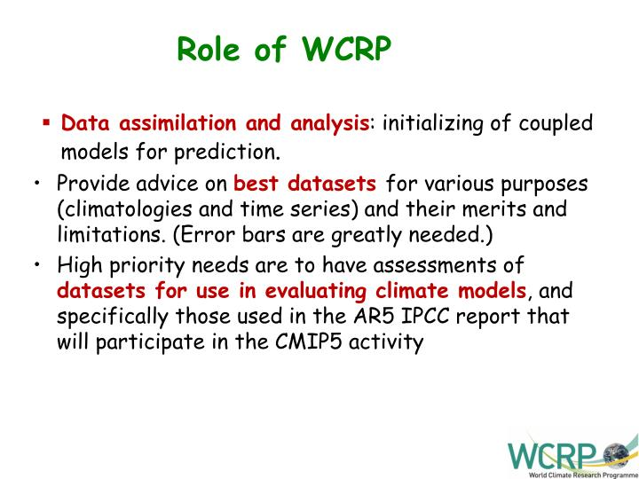 Role of WCRP