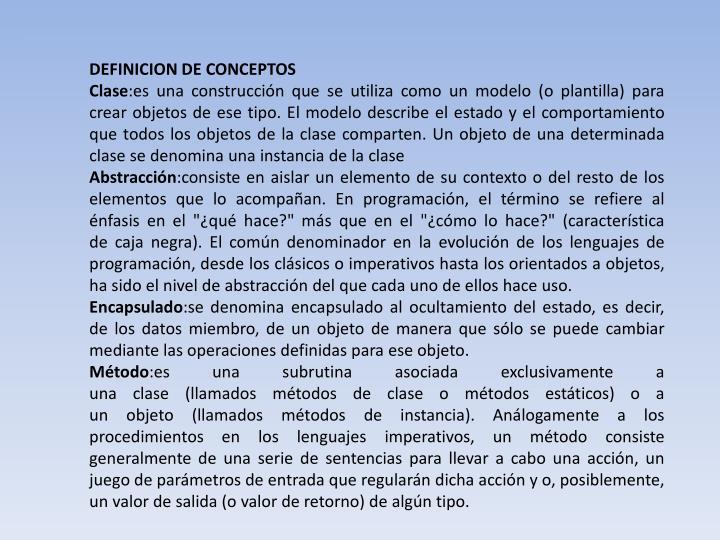 DEFINICION DE CONCEPTOS