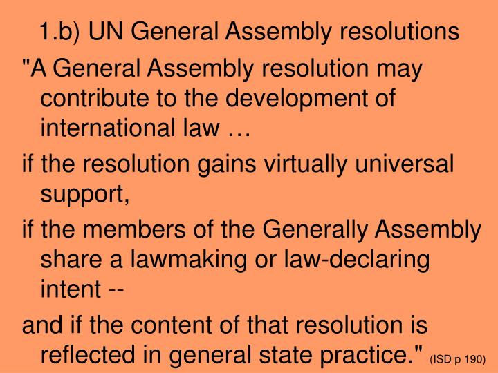 1.b) UN General Assembly resolutions