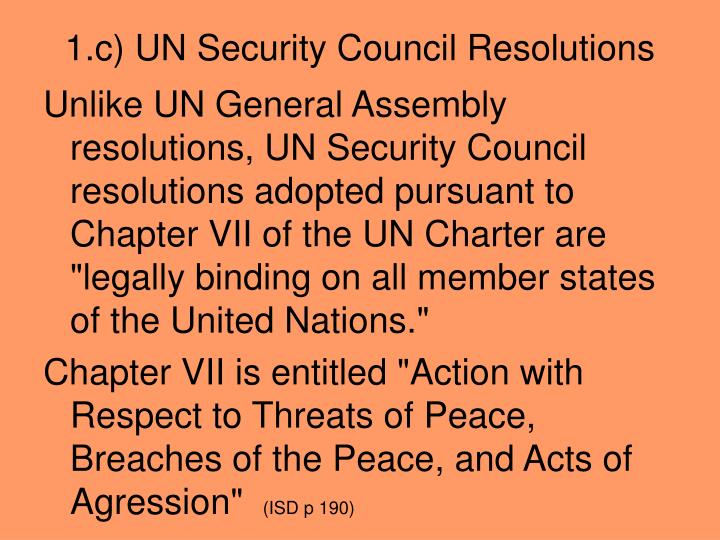 1.c) UN Security Council Resolutions