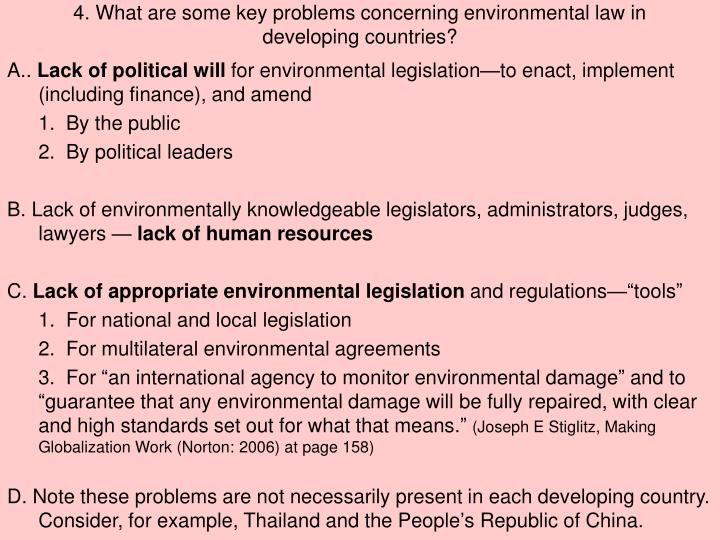 4. What are some key problems concerning environmental law in developing countries?
