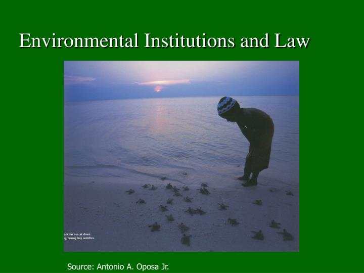 Environmental institutions and law