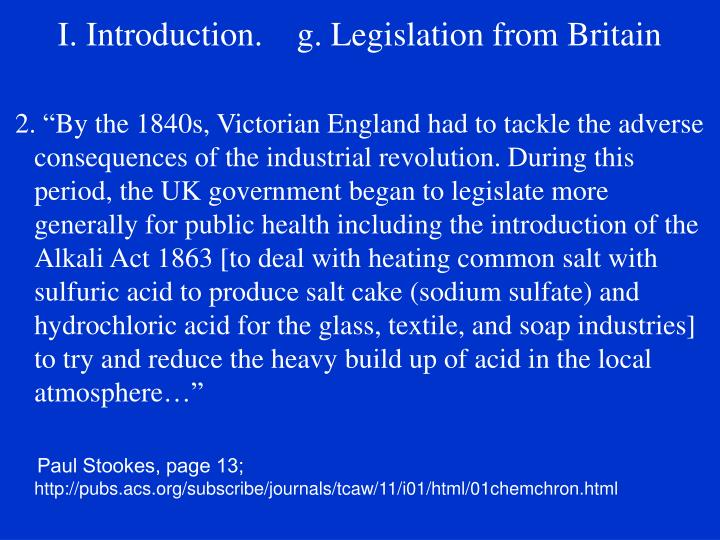 I. Introduction.    g. Legislation from Britain