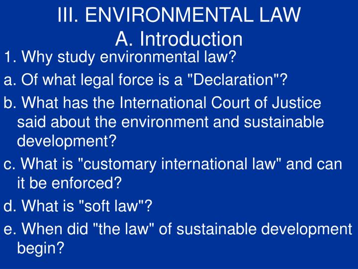 III. ENVIRONMENTAL LAW