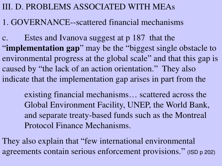 III. D. PROBLEMS ASSOCIATED WITH MEAs