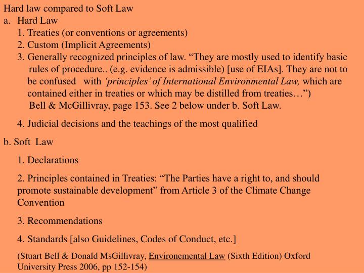 Hard law compared to Soft Law