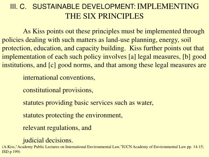 III. C.   SUSTAINABLE DEVELOPMENT: