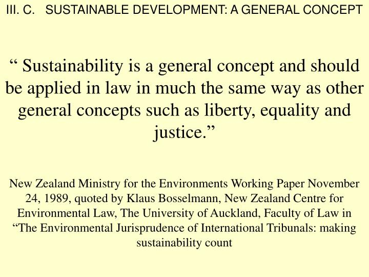 III. C.   SUSTAINABLE DEVELOPMENT: A GENERAL CONCEPT