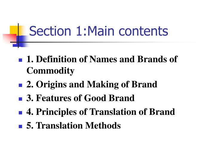 Section 1:Main contents