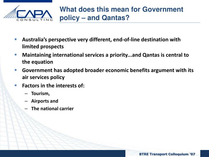 What does this mean for Government policy – and Qantas?