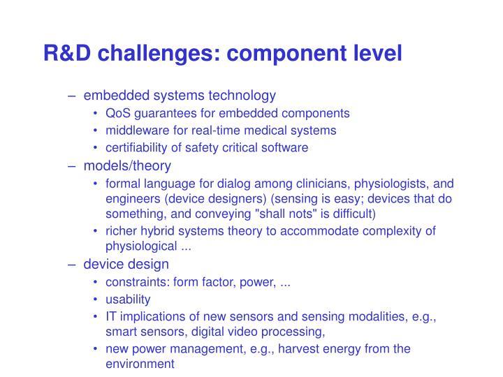 R&D challenges: component level