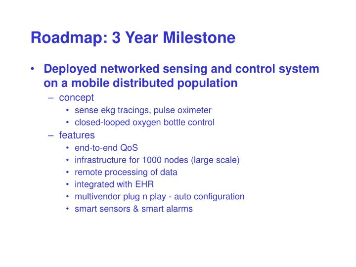 Roadmap: 3 Year Milestone