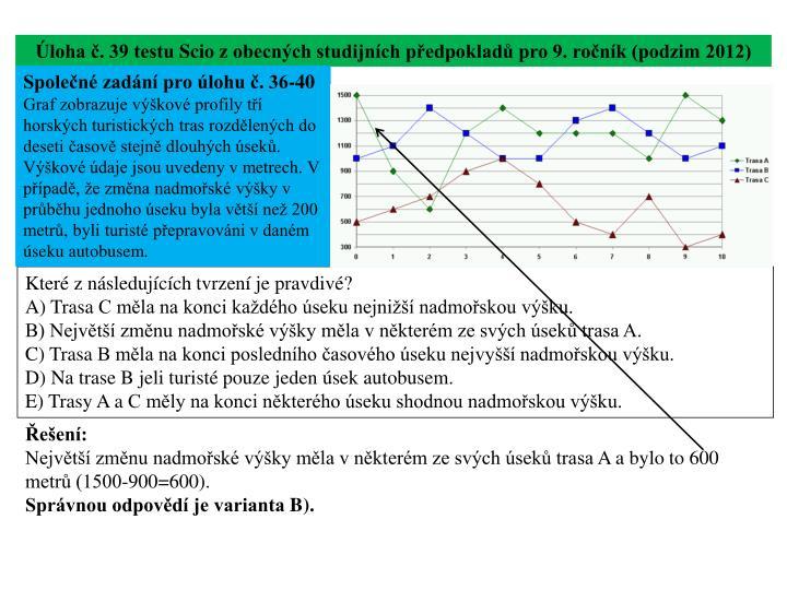 Úloha č. 39 testu
