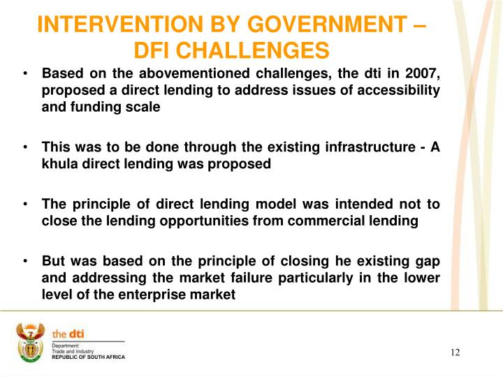 Intervention by government – DFI CHALLENGEs