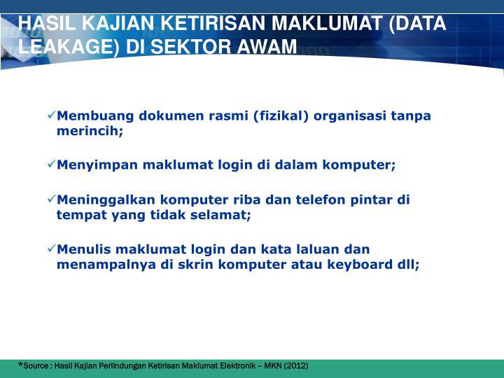 Hasil Kajian ketirisan maklumat (Data