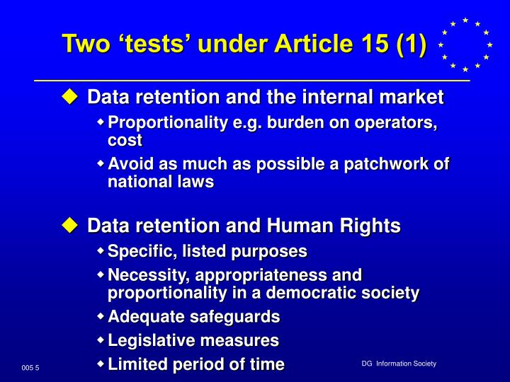 Two 'tests' under Article 15 (1)