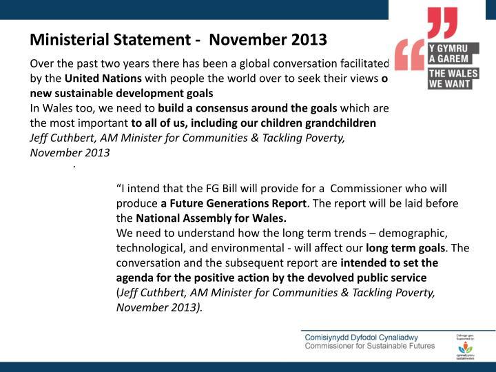 Ministerial Statement -  November 2013