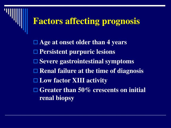 Factors affecting prognosis
