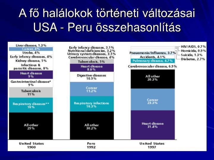 A fő halálokok történeti változásai USA - Peru összehasonlítás