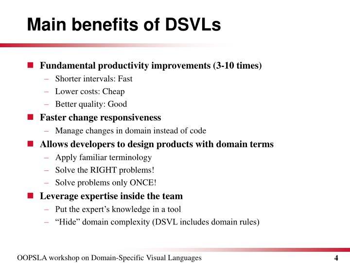 Main benefits of DSVLs