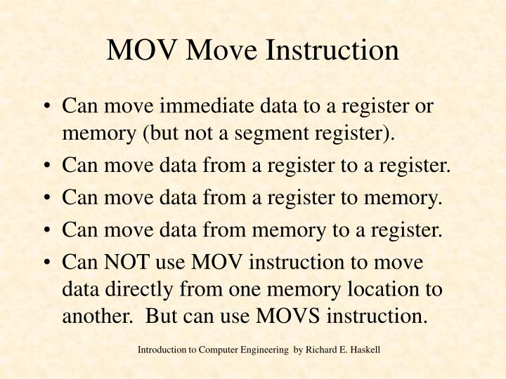 Mov move instruction