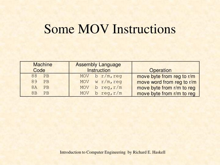 Some MOV Instructions