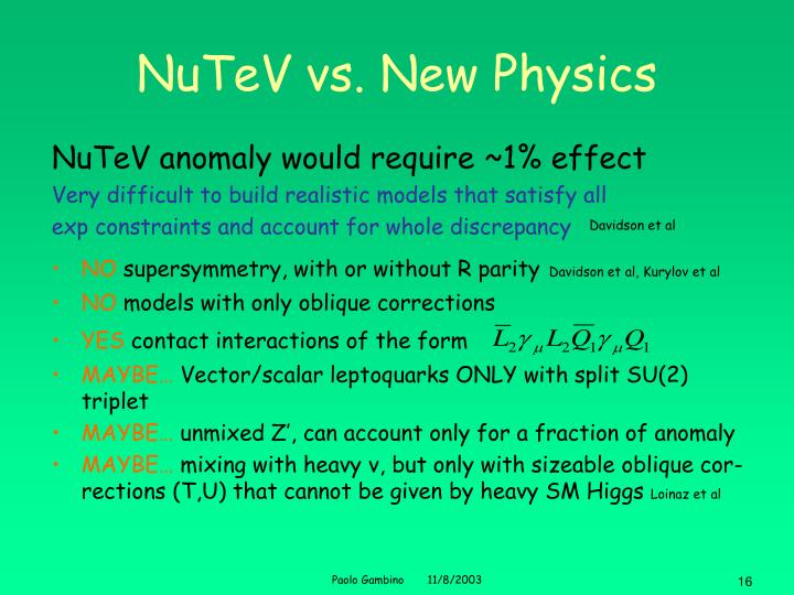 NuTeV vs. New Physics