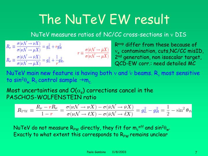 The NuTeV EW result