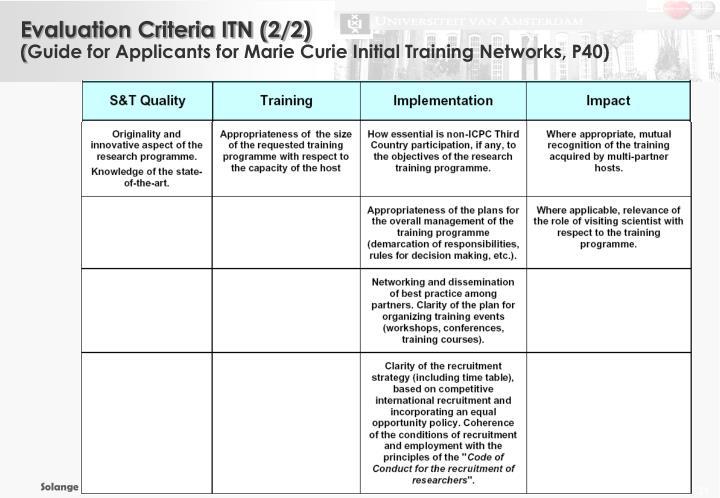 Evaluation Criteria ITN (2/2)