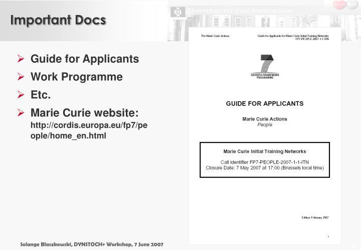 Important Docs