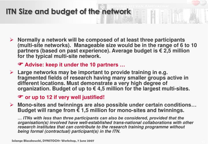 ITN Size and budget of the network
