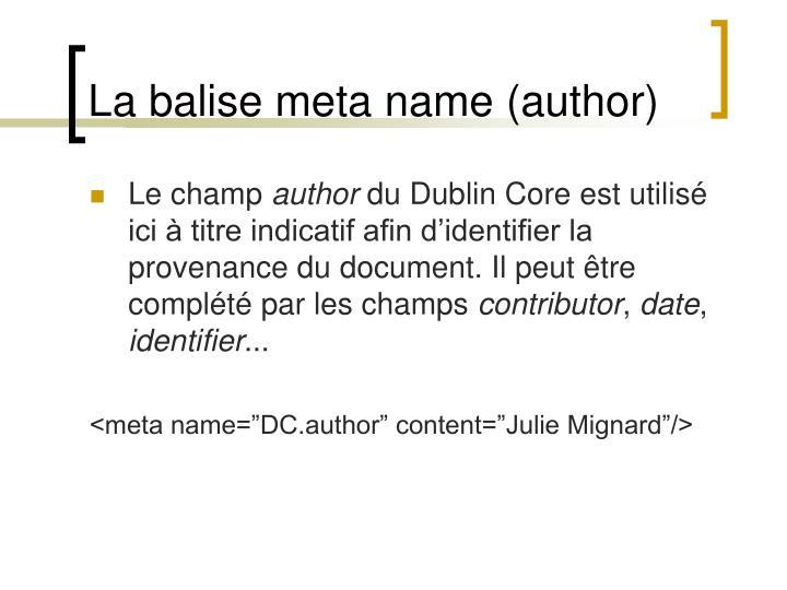 La balise meta name (author)