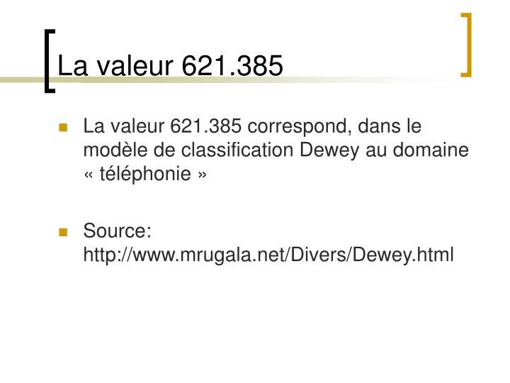 La valeur 621.385