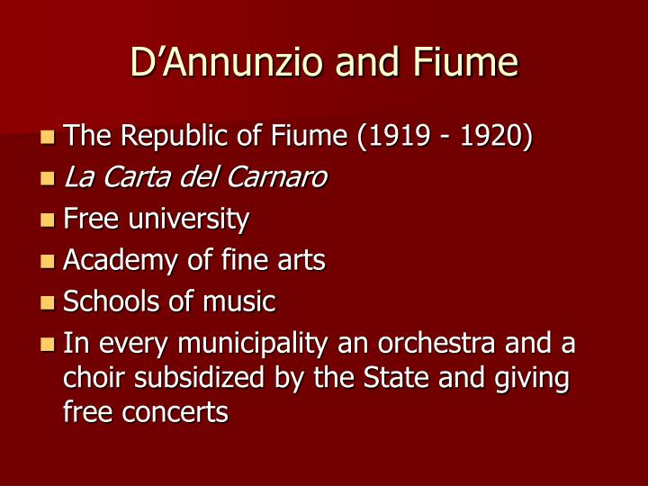 D'Annunzio and Fiume
