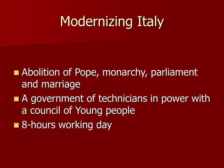 Modernizing Italy