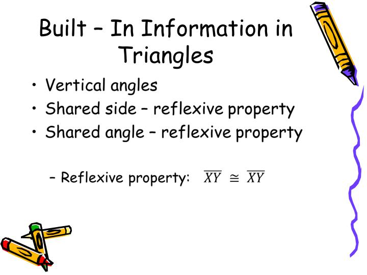 Built in information in triangles